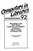 Cover of: Computers in Libraries International, 1992