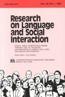 Cover of: Constituting Gender Through Talk in Childhood: Conversations in Parent-child, Peer, and Sibling Relationships:a Special Issue of research on Language and ... Language and Social Interaction Vol. 29, #1) | Amy Sheldon