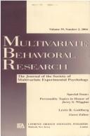 Cover of: Personality Topics in Honor of Jerry S. Wiggins (Multivariate Behavioral Research: Volume 39, Number 2, 2004) | Lewis R. Goldberg