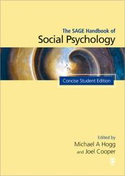 Cover of: SAGE HANDBOOK OF SOCIAL PSYCHOLOGY; ED. BY MICHAEL A. HOGG