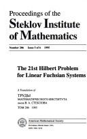 Cover of: The 21st Hilbert Problem for Linear Fuchsian Systems (Proceedings of the Steklov Institute of Mathematics) | A. A. Bolibrukh