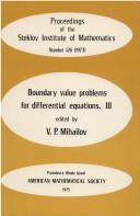 Cover of: Boundary for Differential Equations (Boundary for Differential Equations) | V. P. Mihailov