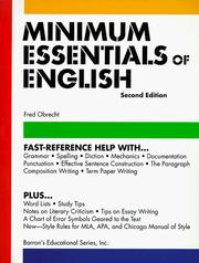 Cover of: Minimum essentials of English | Fred Obrecht