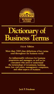 Cover of: Dictionary of Business Terms