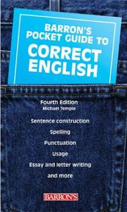 Cover of: Barron's pocket guide to correct English