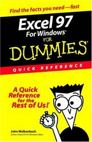 Cover of: Excel 97 for Windows for Dummies Quick Reference