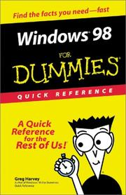 Windows 98 for dummies quick reference by Greg Harvey