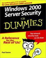 Cover of: Windows 2000 server security for dummies