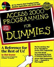 Cover of: Access 2000 programming for dummies