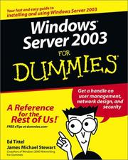 Cover of: Windows Server 2003 for Dummies
