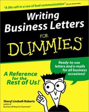 Cover of: Writing business letters for dummies | Sheryl Lindsell-Roberts