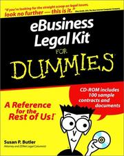Cover of: Ebusiness legal kit for dummies | Susan P. Butler