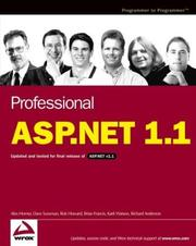 Cover of: Professional ASP.NET 1.1 | Alex Homer, Dave Sussman, Rob Howard, Brian Francis, Karli Watson, Richard Anderson