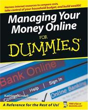 Cover of: Managing your money online for dummies | Kathleen Sindell