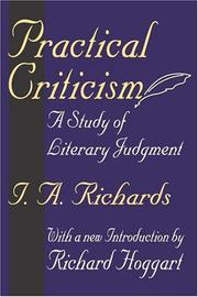 Cover of: Practical criticism: a study of literary judgment