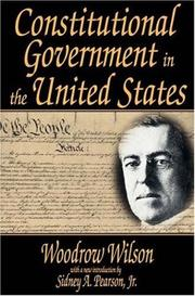 Cover of: Constitutional government in the United States