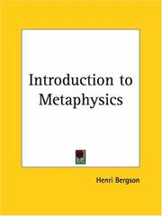 Cover of: Introduction to Metaphysics (1912)
