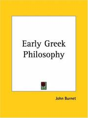 Cover of: Early Greek Philosophy | John Burnet