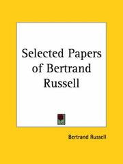 Cover of: Selected papers of Bertrand Russell: selected and with a special introduction by Bertrand Russell.