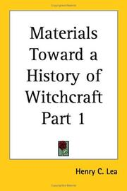 Cover of: Materials Toward a History of Witchcraft, Part 1