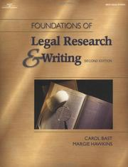 Cover of: Foundations of legal research and writing