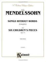 Cover of: Mendelssohn Songs Without Words
