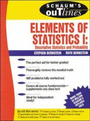 Cover of: Schaum's Outline of Elements of Statistics I