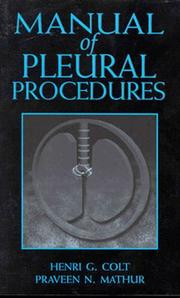 Cover of: Manual of pleural procedures