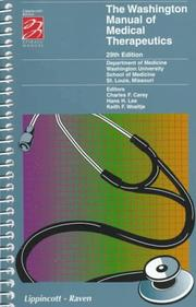 Cover of: The Washington Manual of Medical Therapeutics (Spiral Manual Series) | Washington University School of Medicine Dapartment of Medicine