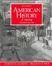 Cover of: Study Guide to Accompany Brinkley American History : A Survey | Harvey H. Jackson