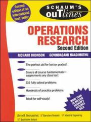 Cover of: Schaum's outline of theory and problems of operations research