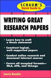 Cover of: Schaum's Quick Guide to Writing Great Research Papers (Quick Guides)