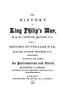 Cover of: The history of King Philip's war