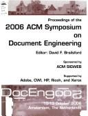 Cover of: Proceedings of the 2006 ACM Symposium on Document Engineering | ACM Symposium on Document Engineering (6th 2006 Amsterdam, The Netherlands)