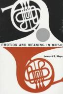 Cover of: Emotion and meaning in music