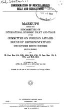 Cover of: Consideration of miscellaneous bills and resolutions