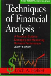 Cover of: Techniques of financial analysis
