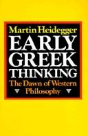 Cover of: Early Greek thinking