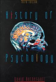 Cover of: History of psychology