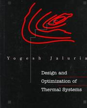 Cover of: Design and optimization of thermal systems