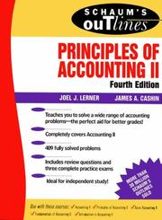 Cover of: Schaum's outline of theory and problems of principles of accounting II