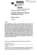 Cover of: The effect of IMF and World Bank programmes on poverty