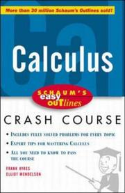 Cover of: Calculus : based on Schaum's outline of differential and integral calculus by Frank Ayres, Jr. and Elliot Mendelson