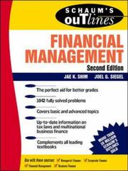 Cover of: Schaum's outline of theory and problems of financial management