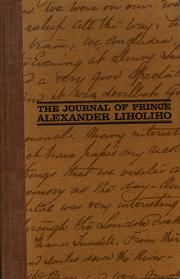 Cover of: The journal of Prince Alexander Liholiho | Kamehameha IV King of the Hawaiian Islands