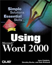 Cover of: Using Microsoft Word 2000 | Jane Calabria