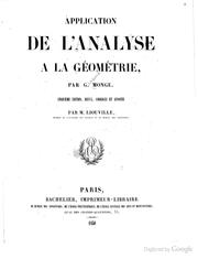 Cover of: Application de l'analyse à la géométrie