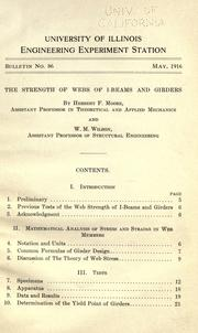 Cover of: Strength of webs of I-beams and girders | Herbert F. Moore
