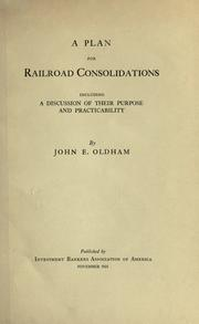 Cover of: A plan for railroad consolidations