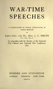 Cover of: War-time speeches